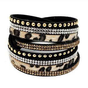 Leopard print/ black microfiber wrap bracelets